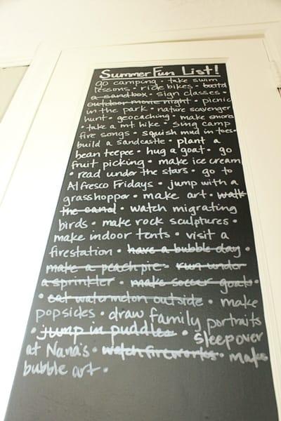 Chalkboard Summer Fun List
