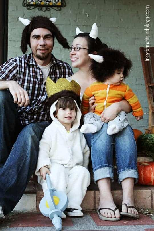 Family dressed up as characters from Where the Wild Things Are.