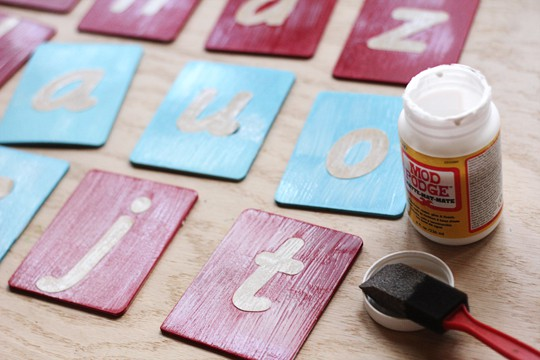 Use Mod Podge from Plaid to protect paint and letters