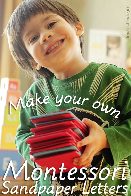 """Child holding a stack of wood panels with the words """"Make your own Montessori Sandpaper Letters."""""""