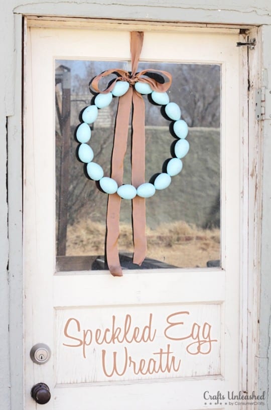 Easy wreath made from painted paper mache eggs and wire