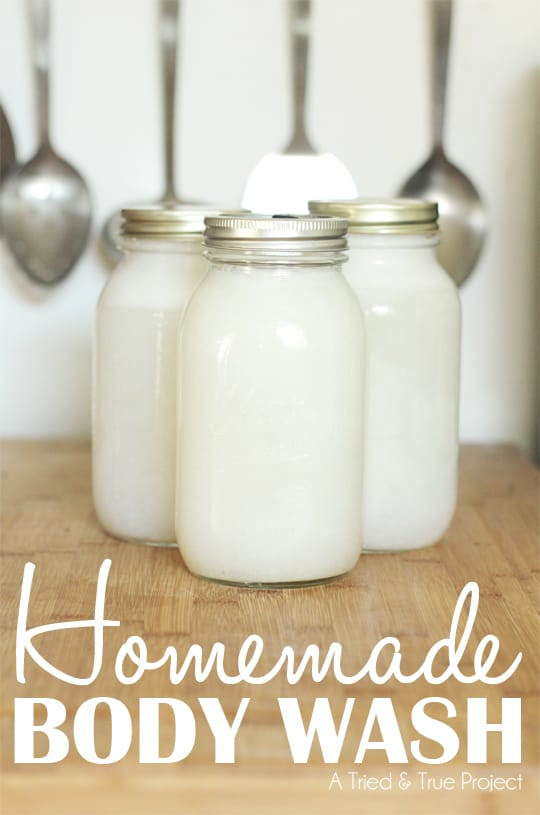 Three large jars of Homemade Body Wash on a counter.