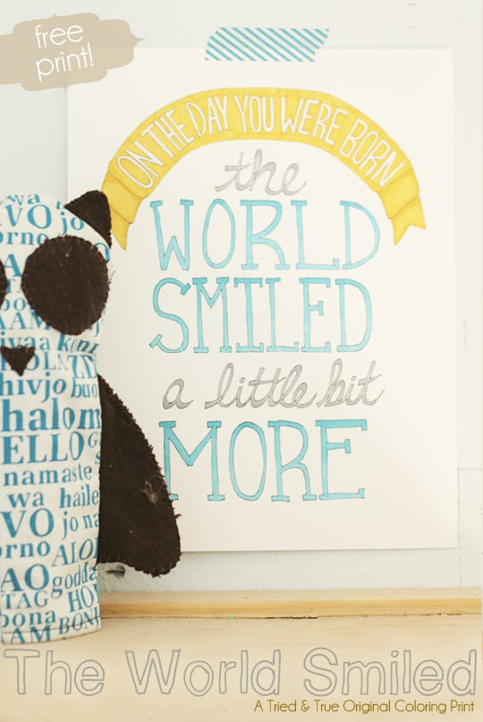 """Print """"The World Smiled"""" Coloring Print from Tried & True and color any way you want!"""