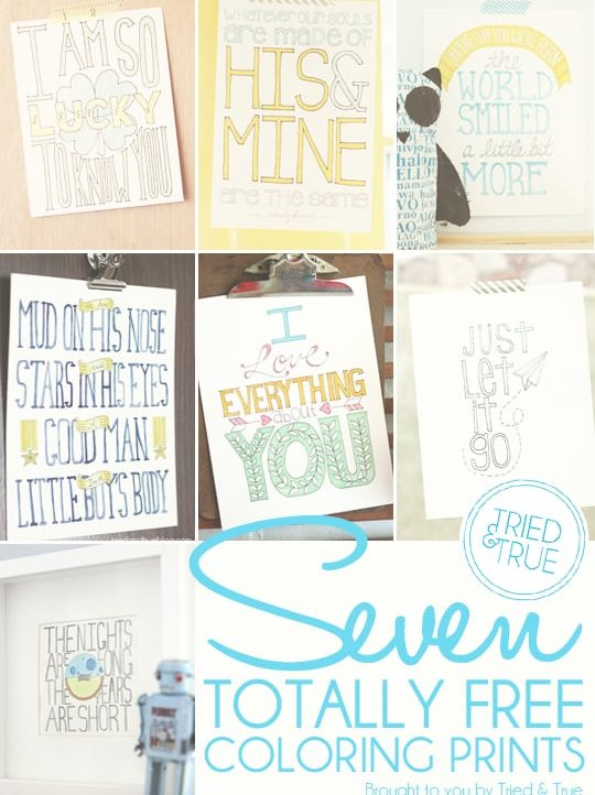 Print out these free printables from Tried & True to color any way you want!
