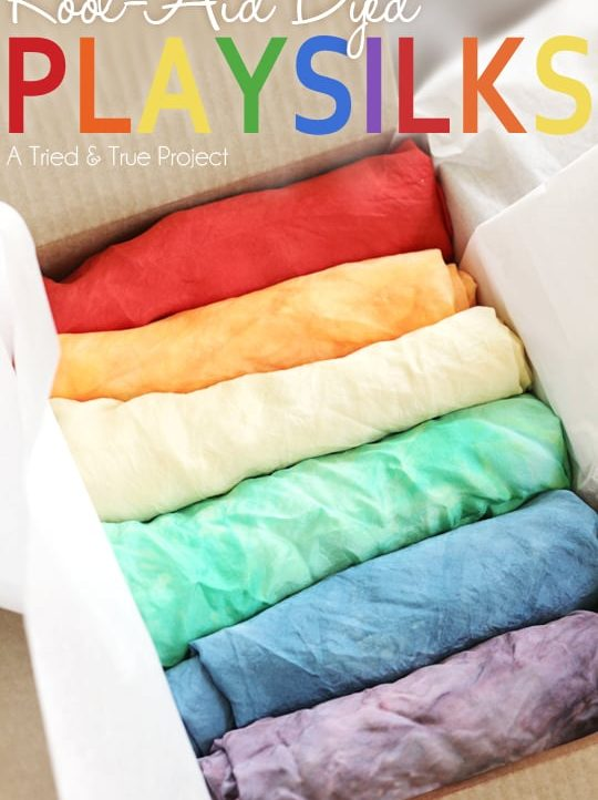 Make these beautiful Kool-Aid Dyed Playsilks for you kids!