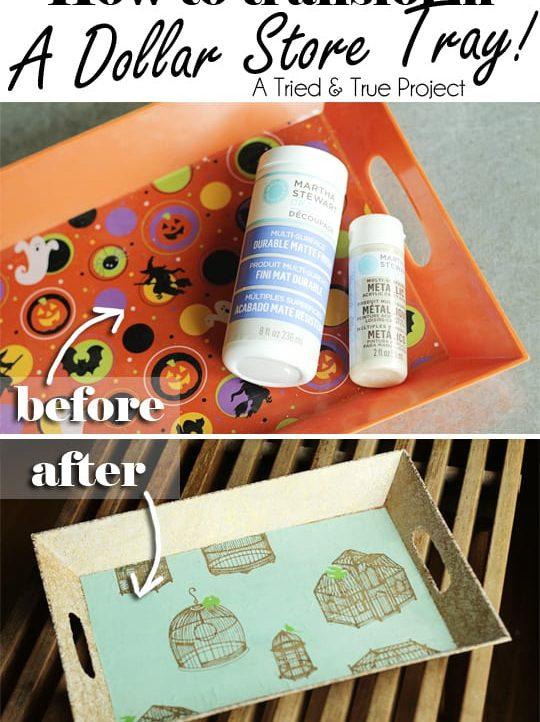 Use Martha Stewart Decopage to transform a cheap tray!