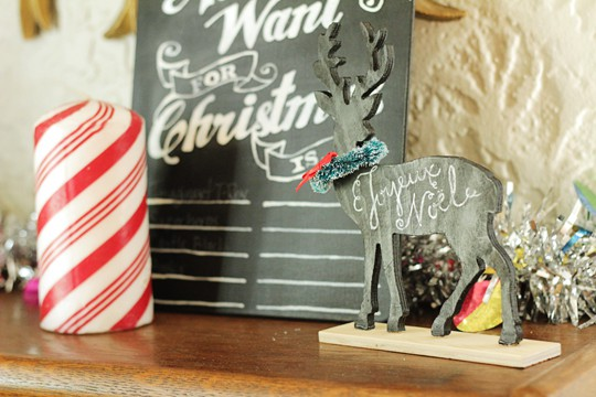 Reversible Faux Chalk Deer Decor - Perfect for Christmas!