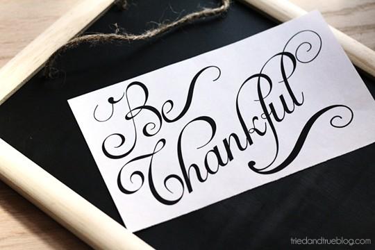 Be Thankful Gratitude Calendar - Free printable