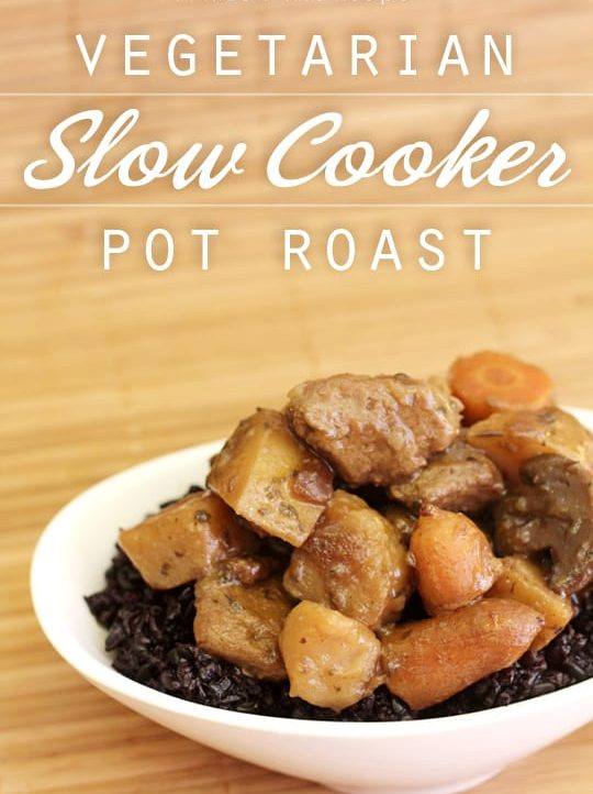 Vegetarian Slow Cooker Pot Roast that's ready to cook in five minutes! #CampbellsSkilledSaucers