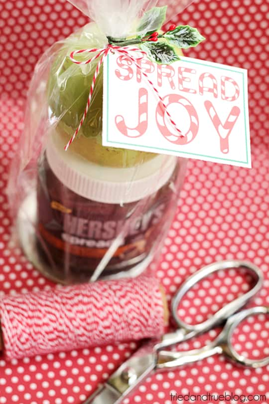 """Gift of chocolate spread with an apple and free gift tag that says """"Spread Joy."""""""