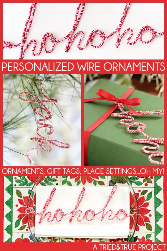 Make you own Personalized Wire Ornament to decorate a tree, gift, or place setting!