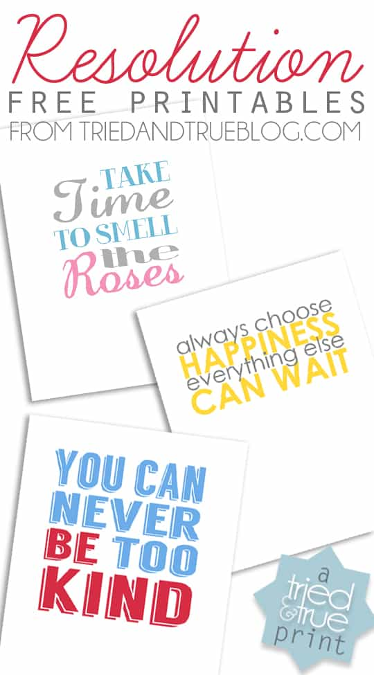 Resolutions Free Printables -  A Tried & True Free Print