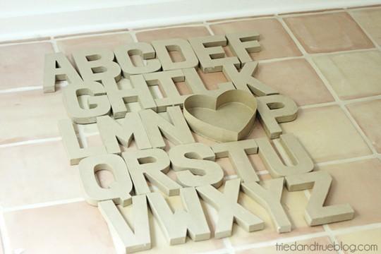 Paper Mache Alphabet Wall Art - Layout