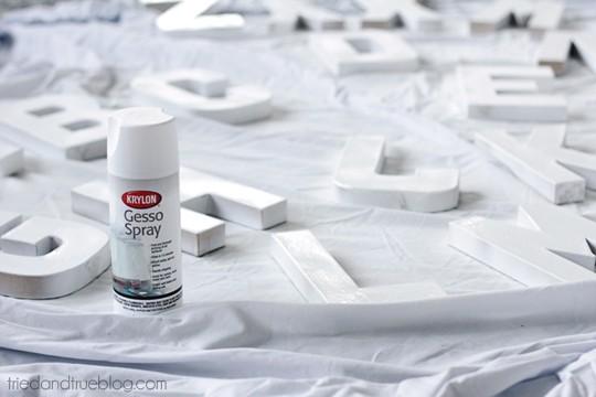 Paper Mache Alphabet Wall Art - Spray