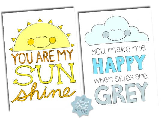 """Two coloring pages with the words """"You are my sunshine"""" and """"You make me happy when skies are gray."""""""