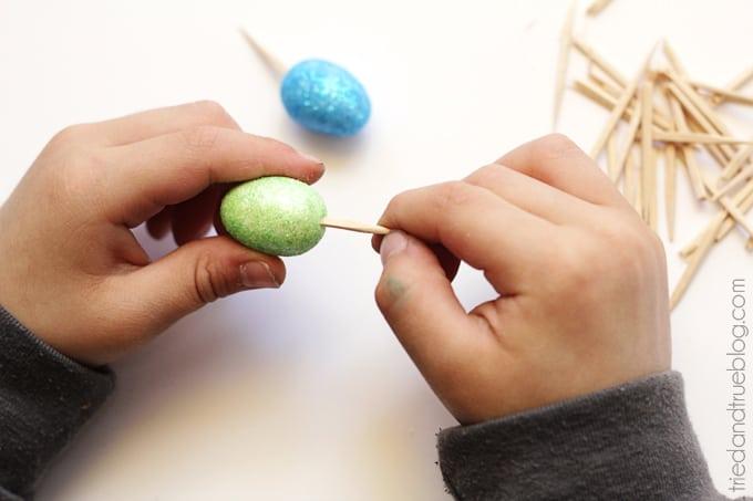 Easy Easter Egg Wreath for Kids - Insert Toothpicks