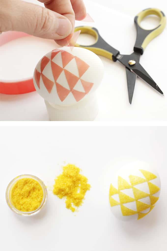 Decorating Easter Eggs with Flocking - Yellow Triangles