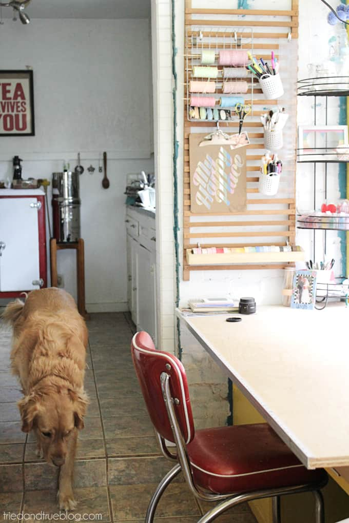 Tried & True's Teeny Tiny Craft Room Tour - View to kitchen