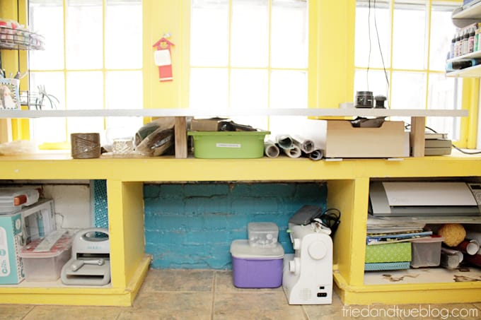 Tried & True's Teeny Tiny Craft Room Tour - Under desk