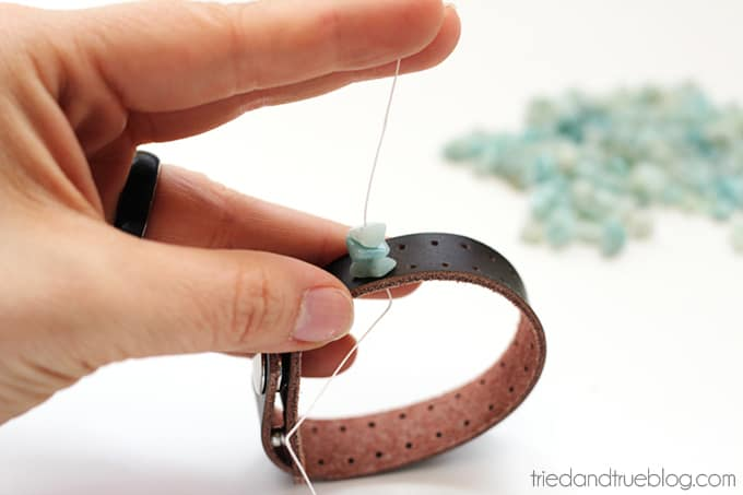 Beaded Leather Bracelet DIY - Start Beads