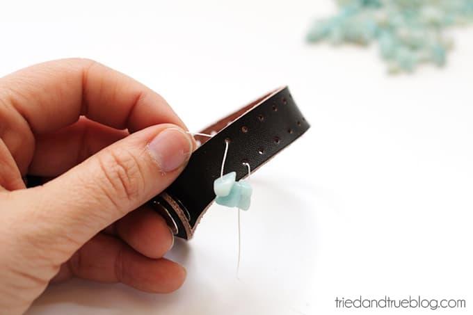 Beaded Leather Bracelet DIY - String Across