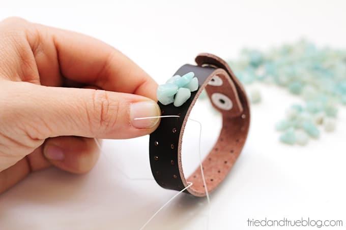 Beaded Leather Bracelet DIY - Continue adding beads