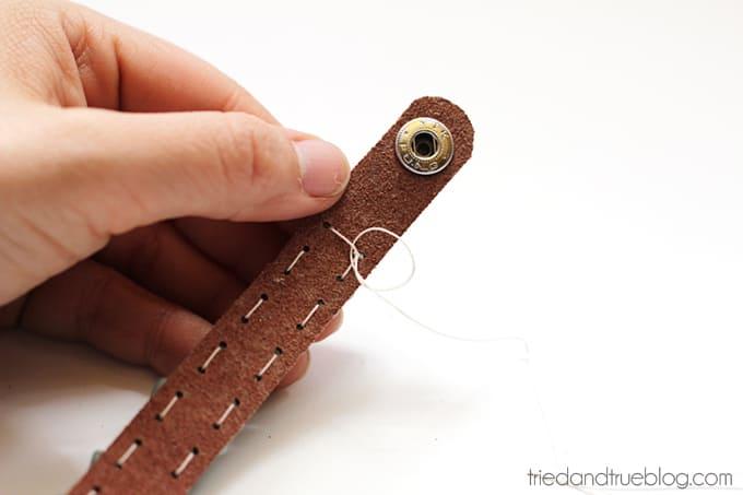 Beaded Leather Bracelet DIY - Secure at end