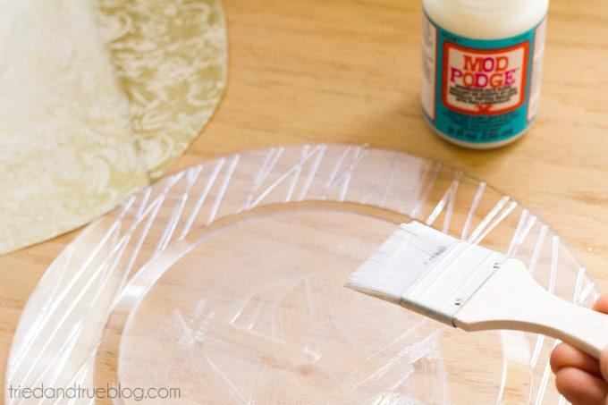 DIY Dollar Store Serving Plates - Apply