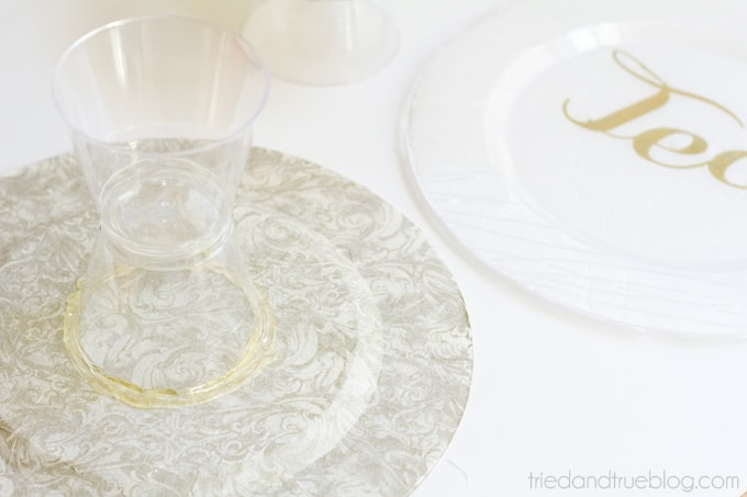 Cheap-Easy-Cake-DIY Dollar Store Serving Plates - Glue stands