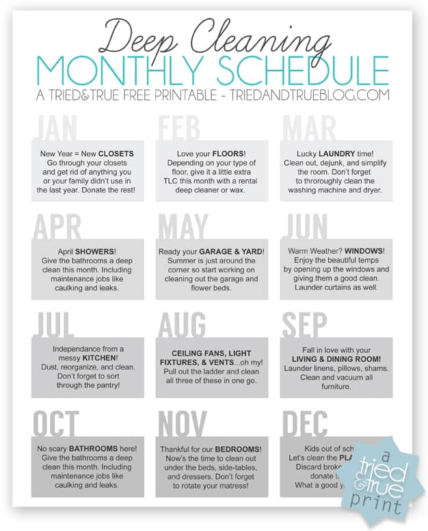 12 Month Cleaning Schedule - Filled In