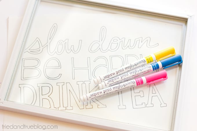 """""""Drink Tea"""" Free Coloring Page - Glass Markers"""