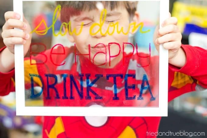 """Drink Tea"" Free Coloring Page - Happy!"