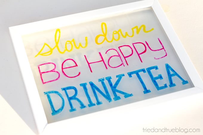 """""""Drink Tea"""" Free Coloring Page - Transfer to glass"""