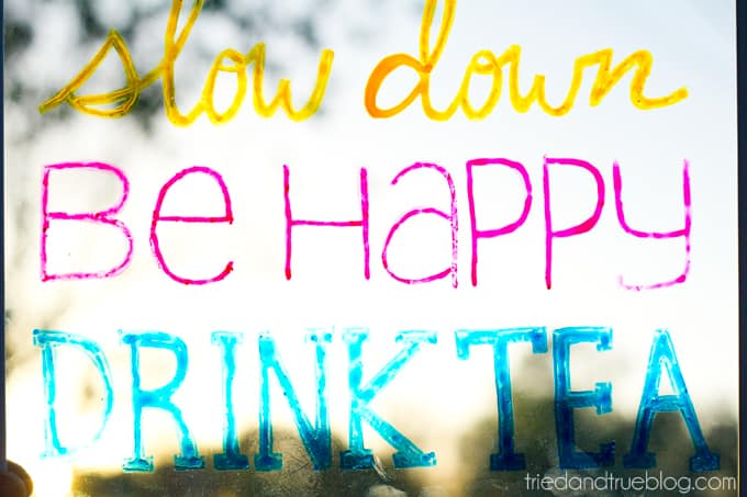 """""""Drink Tea"""" Free Coloring Page - Slow down, be happy, drink tea"""