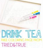 """""""Drink Tea"""" Free Coloring Page"""
