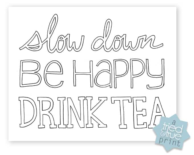 """""""Drink Tea"""" Free Coloring Page - Free Printable to Color"""