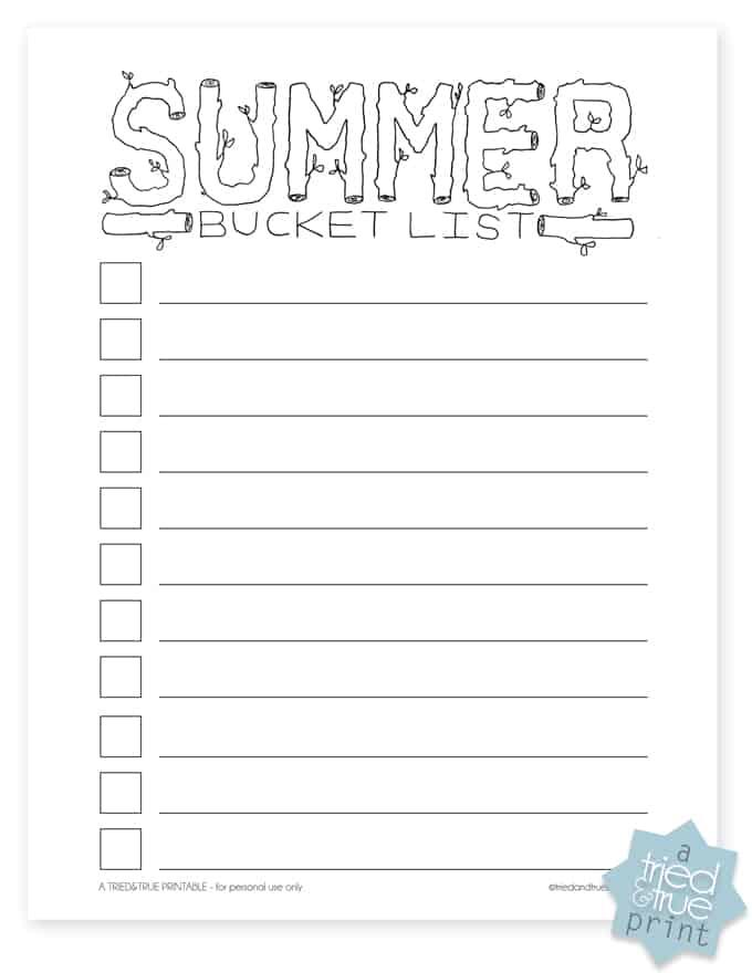 Summer Bucket List - Blank