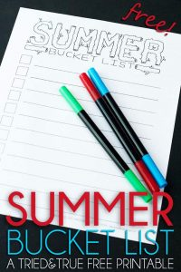 Summer Bucket List - A Tried & True Free Printable