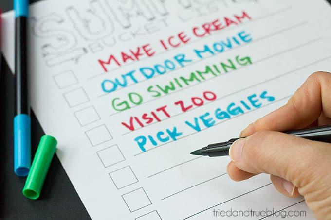 Summer Bucket List - Fill