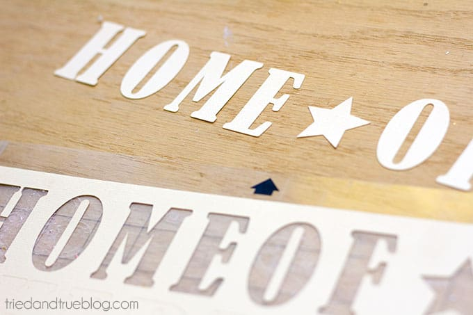 Use pre-cut letters or Silhouette for your rustic flag!