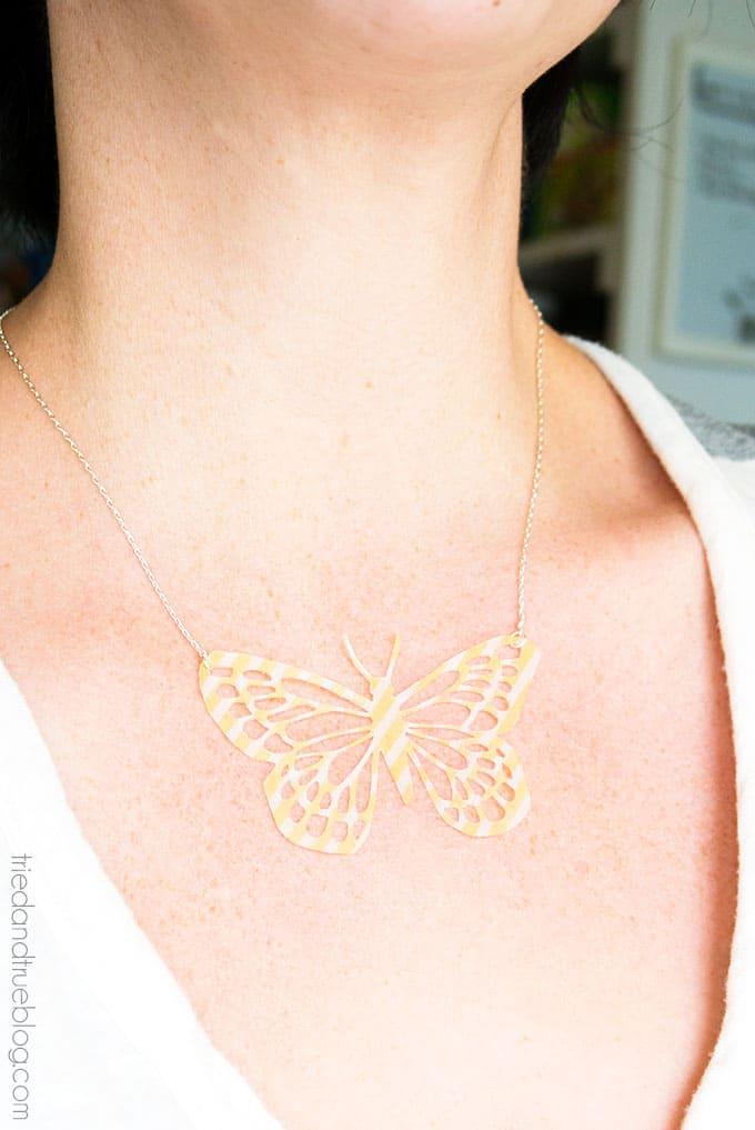 DIY Butterfly Necklace - Wear