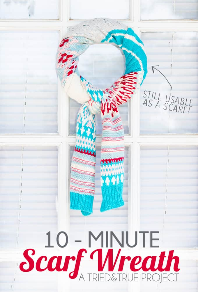 Make this cute Scarf Wreath for the holidays in under 10 minutes! No adhesives are used so the scarf is still usable. #christmas #winter
