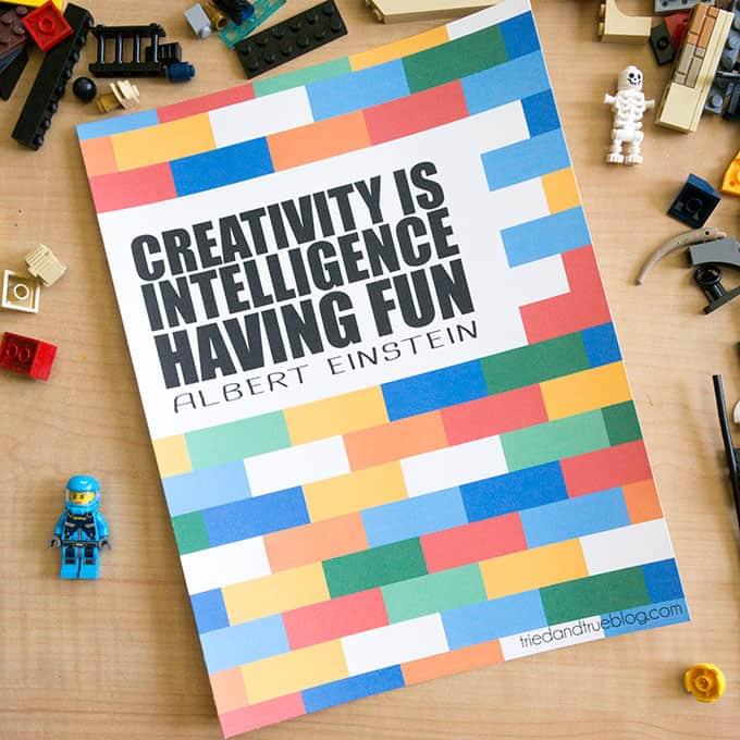 "Building with Legos & Creativity Free Printable - ""Creativity Is Intelligence Having Fun"" Albert Einstein"