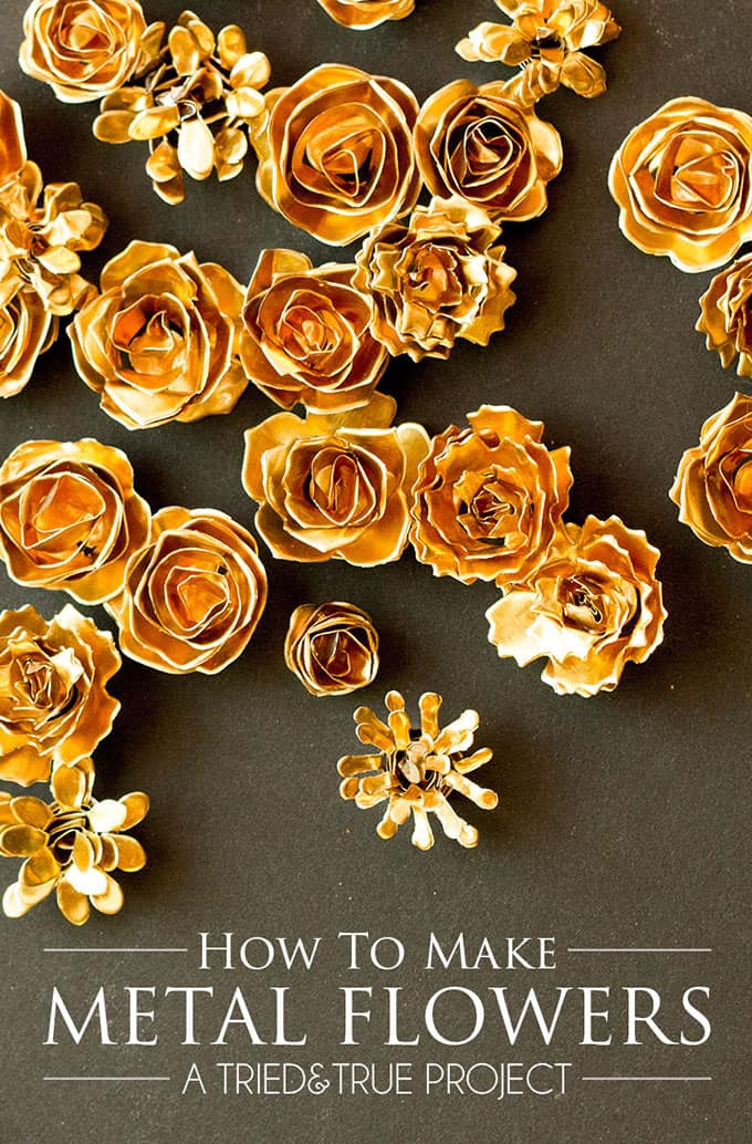 Follow this easy tutorial to make your own Metal Flowers! Perfect for scrapbooking, home diy projects, and holiday decor!