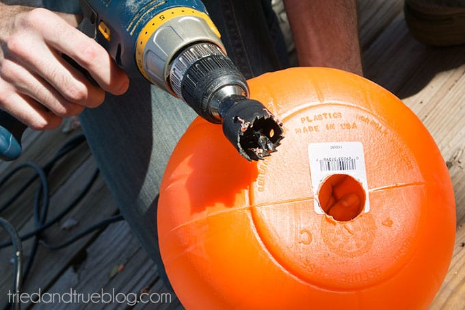 How To Make A Halloween Pumpkin Archway: Drill holes