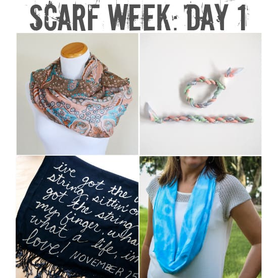 Welcome to Scarf Week! 4 different bloggers sharing 4 different scarf projects intended to inspire (and distract you from scary shark attack footage during Shark Week).  Bound to get the creative juices flowing!