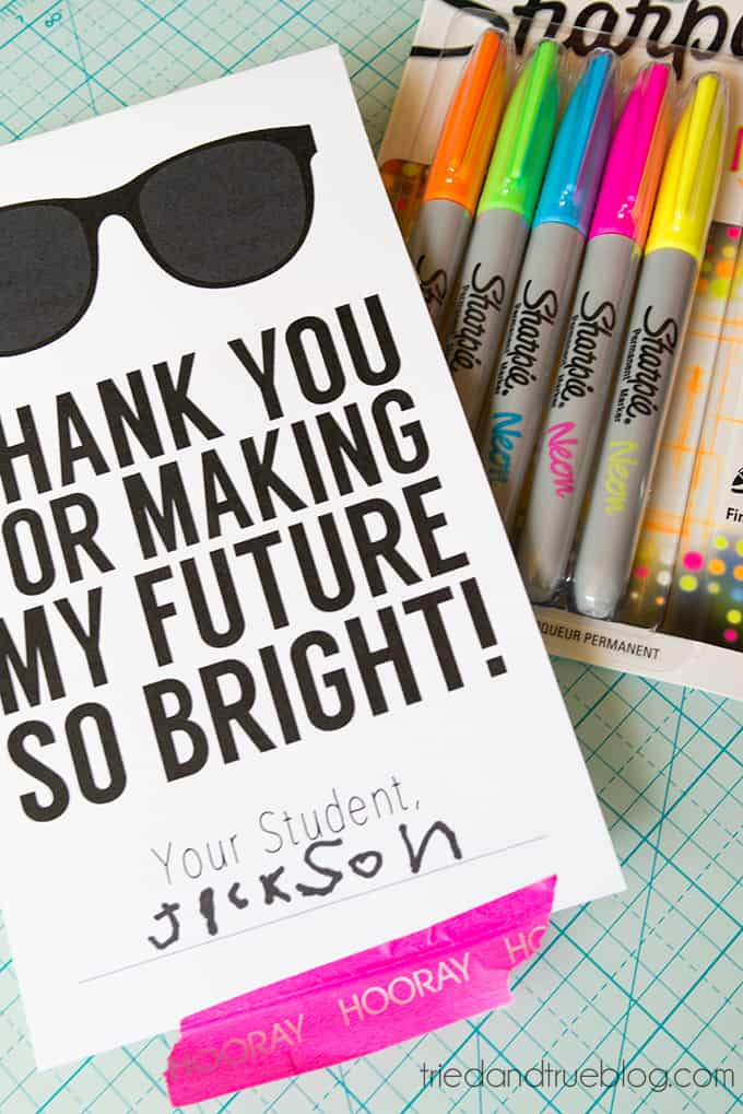 This Neon Sharpie Teacher's Gift is practical and cute!
