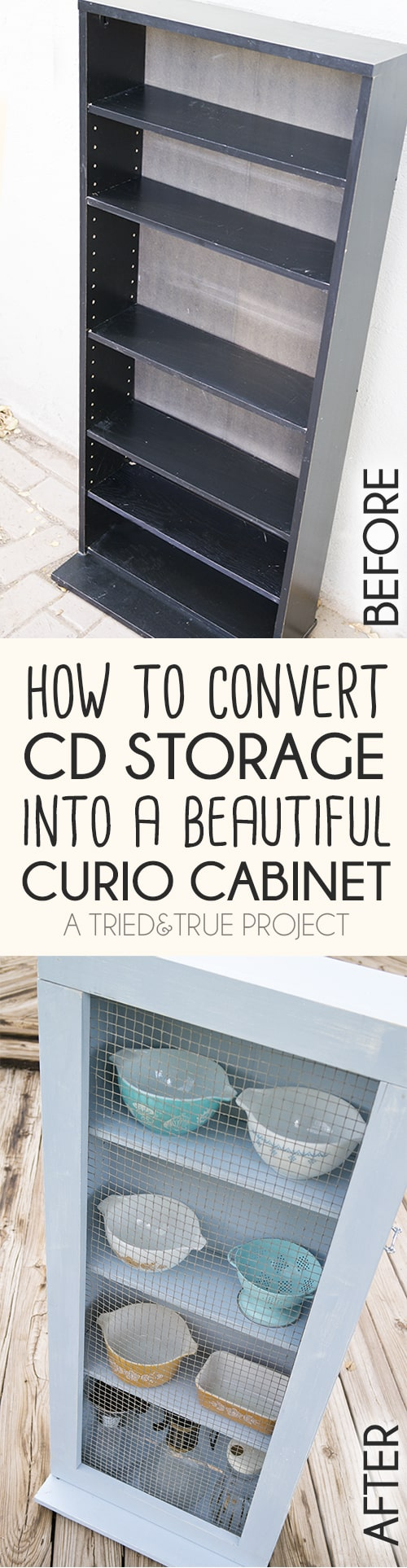How to convert a thrifted CD storage shelf into an adorable farm house chic cabinet!