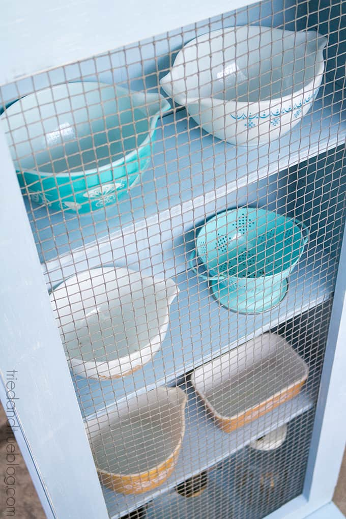Converting Cheap Furniture with Chalky Finish Paint - Perfect for Pyrex!