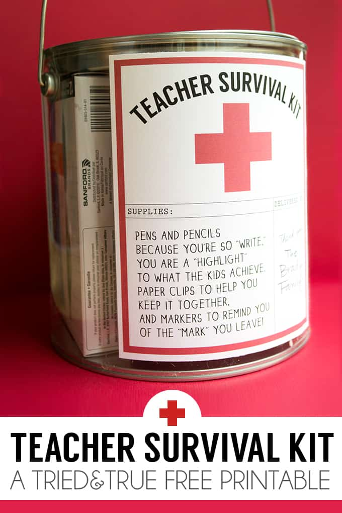 This Teacher Survival Kit goes together super quickly with a few office supplies, a paint can, and the Tried & True free printable!